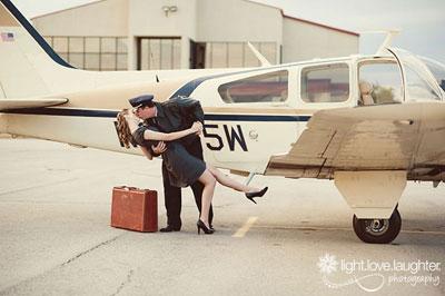 Real Atlanta Engagement Photos: Lauren and Drew Choose A Vintage Plane Session